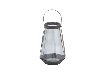 17 Inch Blue Glass Lantern