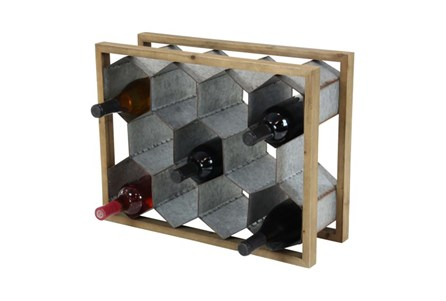 15 Inch Mixed Media Wine Holder