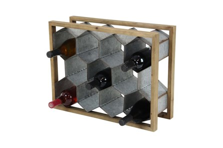 15 Inch Mixed Media Wine Holder - Main