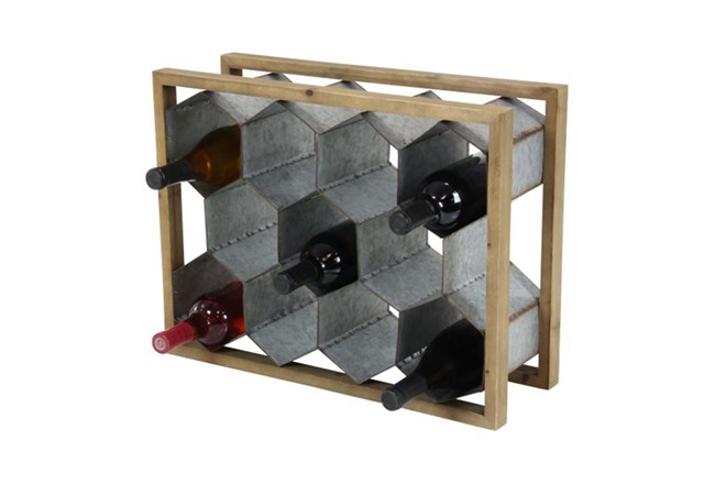 15 Inch Mixed Media Wine Holder - 360