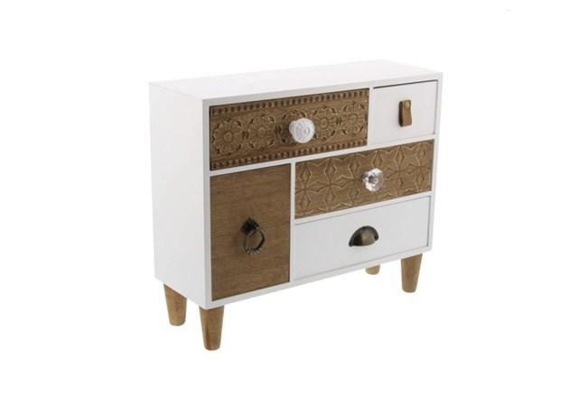 12 Inch Shabby Wood Jewelry Box - 360