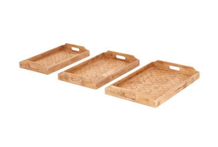 3 Piece Set Wood Inlay Detail Tray