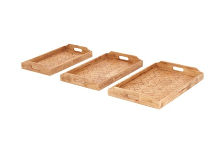 3 Piece Set Wood Inlay Detail Tray - Main