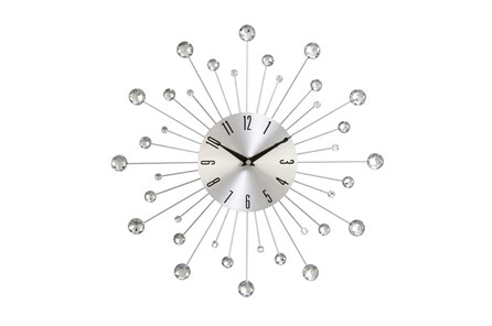 15 Inch Glam Silver Wall Clock - Main