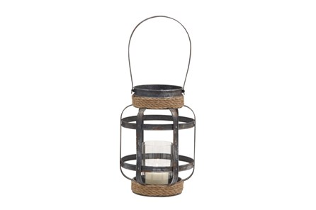 13 Inch Mixed Media Rope Candle Lantern - Main