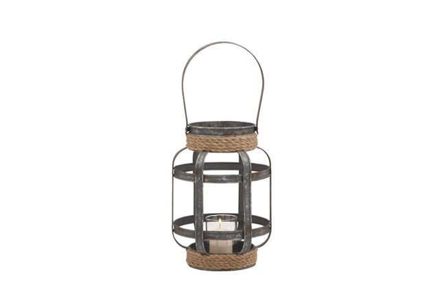 12 Inch Mixed Media Rope Candle Lantern - 360