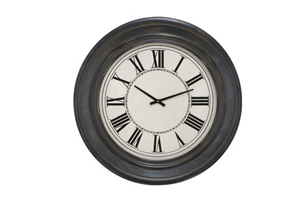 32 Inch Dark Wood Round Wall Clock - Main