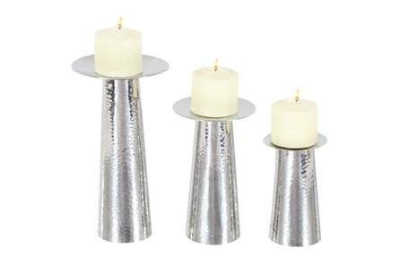 3 Piece Set Silver Modern Candleholder