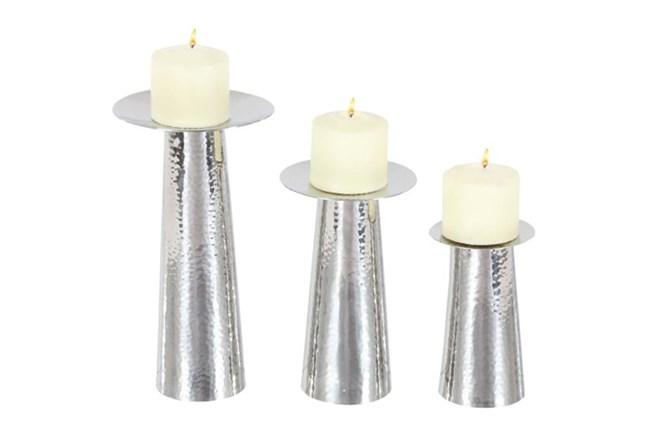 3 Piece Set Silver Modern Candleholder - 360