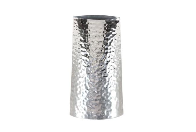 13 Inch Silver Textured Vase - 360