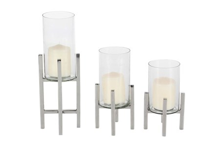 3 Piece Set Silver Metal & Glass Candleholder