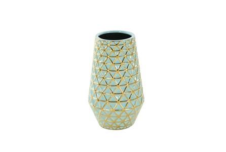 12 Inch Turq & Gold Vase