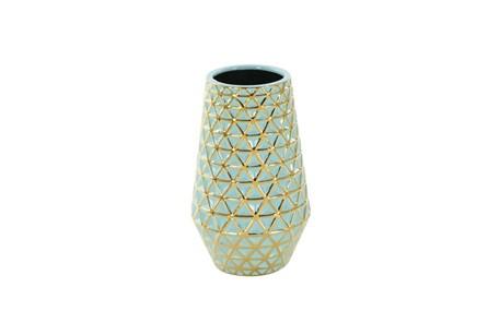 12 Inch Turq & Gold Vase - Main