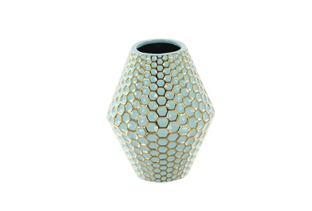10 Inch Turq & Gold Vase