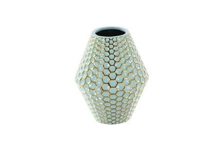 10 Inch Turq & Gold Vase - Main