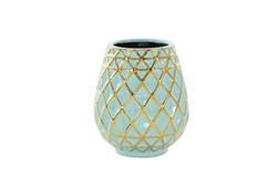 8 Inch Turq & Gold Vase