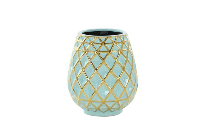 8 Inch Turq & Gold Vase - 360