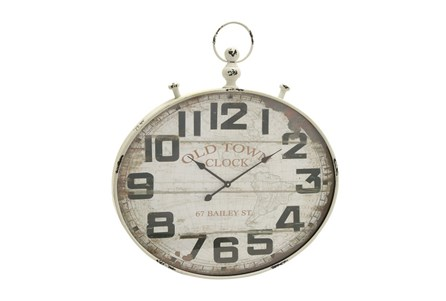 36 Inch Old Town White Washed Wall Clock