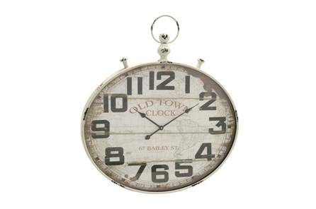 36 Inch Old Town White Washed Wall Clock - Main