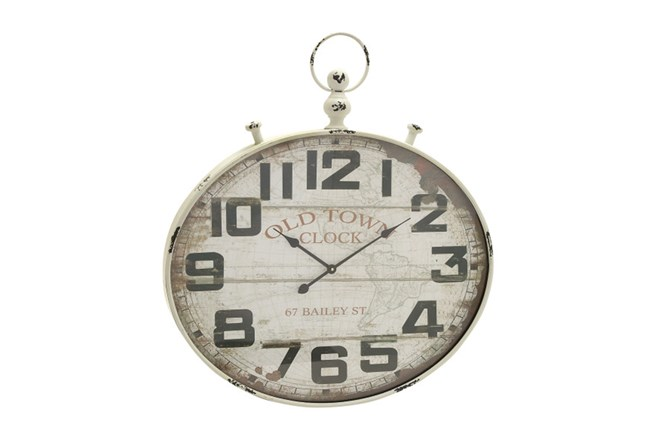 36 Inch Old Town White Washed Wall Clock - 360