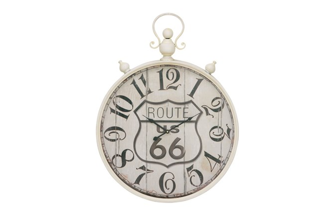 31 Inch Route 66 White Wall Clock - 360