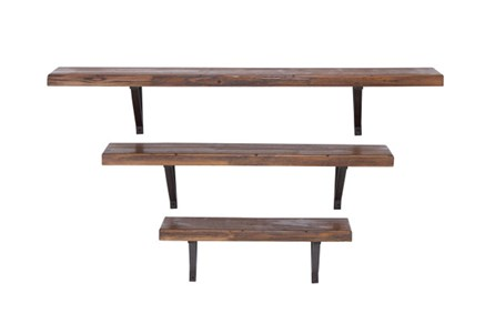 3 Piece Set Mixed Media Wall Shelf