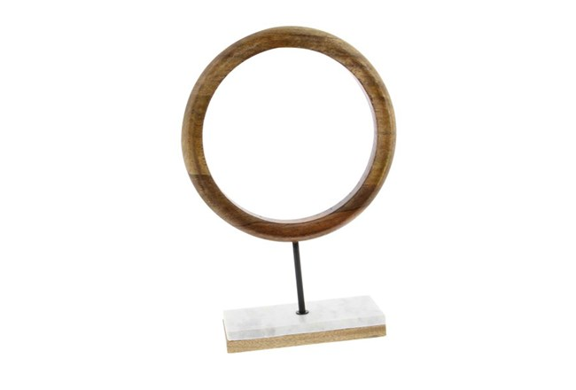 17 Inch Wood Ring On Marble Stand - 360