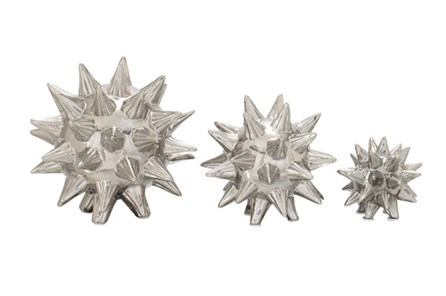 3 Piece Set Silver Spiked Table Decor - Main