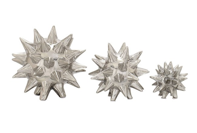 3 Piece Set Silver Spiked Table Decor - 360
