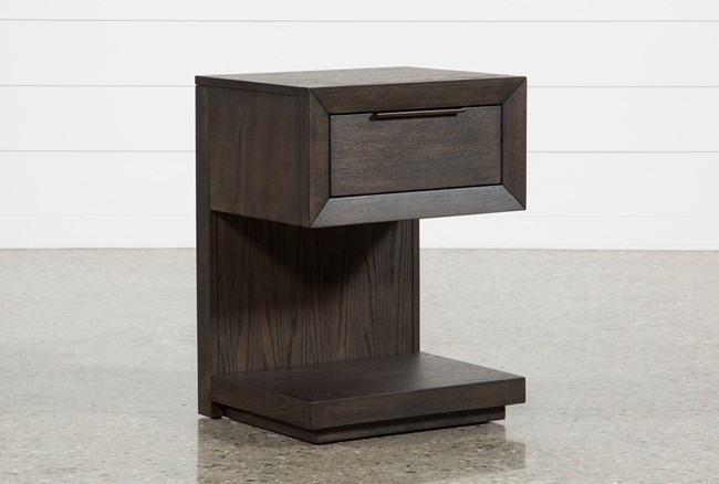 Pierce Espresso 1-Drawer Nightstand With Usb And Power Outlets - 360