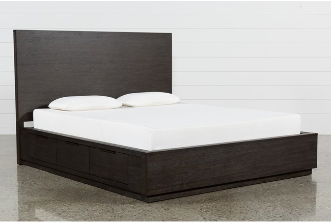 Pierce Espresso Eastern King Panel Bed W/Storage - 360