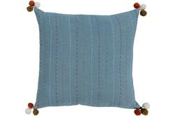 Accent Pillow-Blue & Orange Pom Poms 20X20