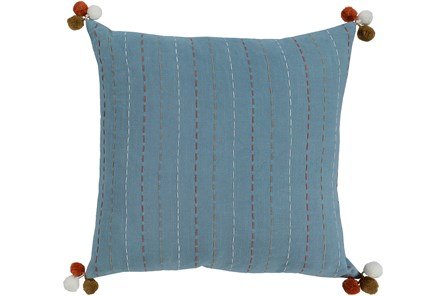 Accent Pillow-Blue & Orange Pom Poms 22X22