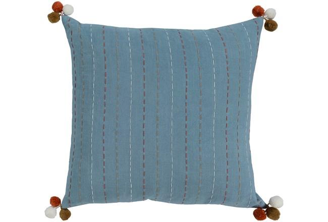 Accent Pillow-Blue & Orange Pom Poms 22X22 - 360