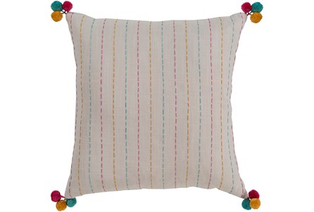 Accent Pillow-Pink & Blue Pom Poms 20X20