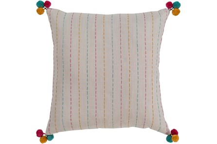 Accent Pillow-Pink & Blue Pom Poms 20X20 - Main