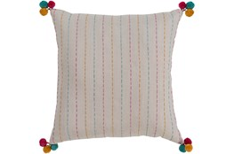 Accent Pillow-Pink & Blue Pom Poms 22X22