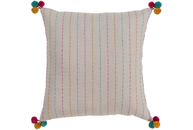 Accent Pillow-Pink & Blue Pom Poms 22X22 - 360