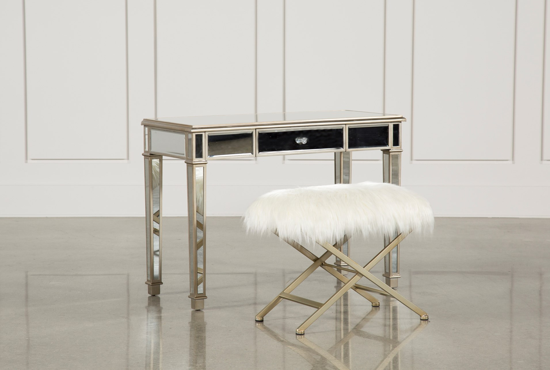 Hayworth Mirrored Vanity Desk W Bench Qty 1 Has Been Successfully Added To Your Cart