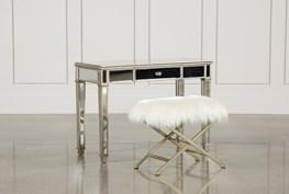 Hayworth Mirrored Vanity Desk W/Bench