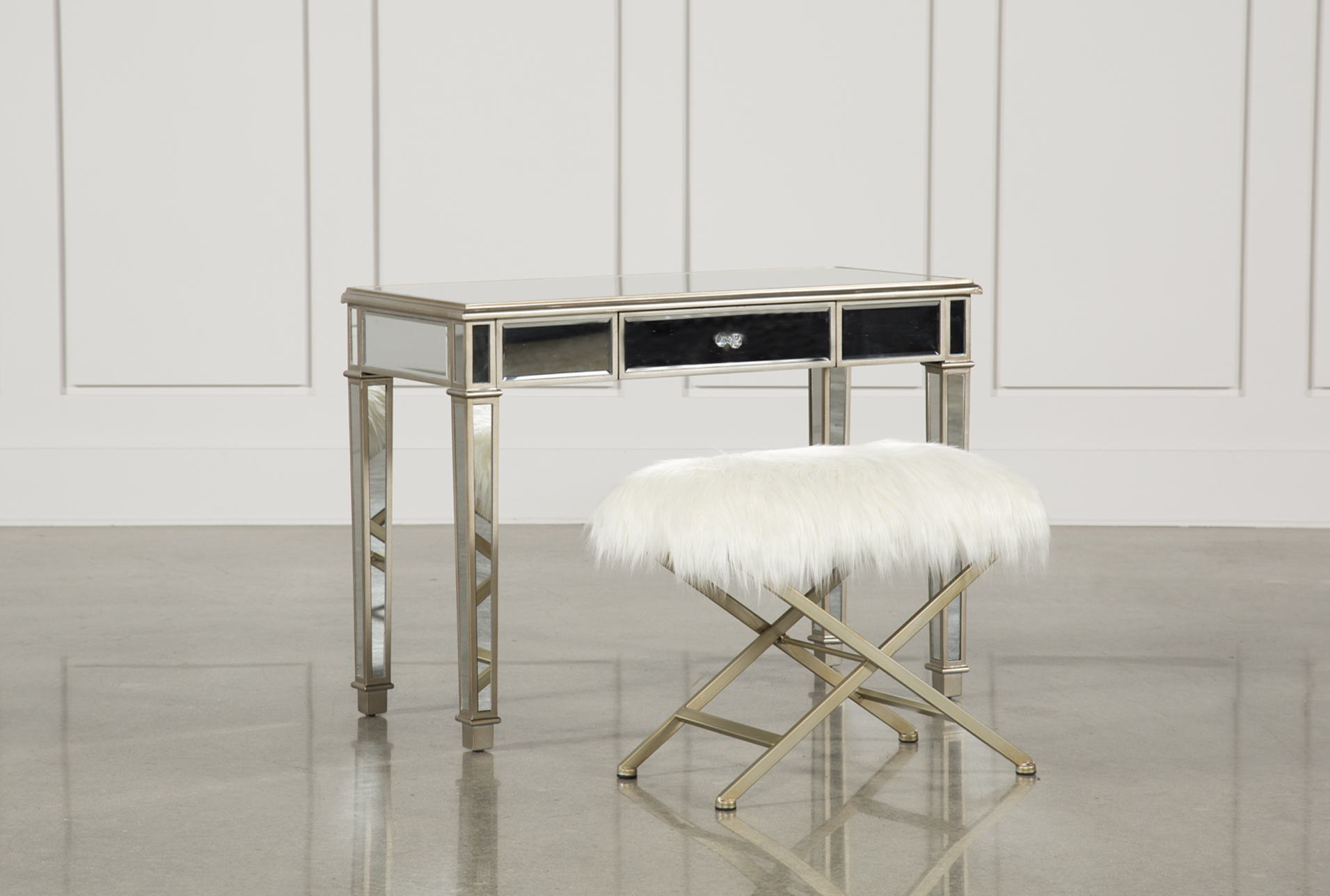 Hayworth Mirrored Vanity Desk W/Bench (Qty: 1) Has Been Successfully Added  To Your Cart.
