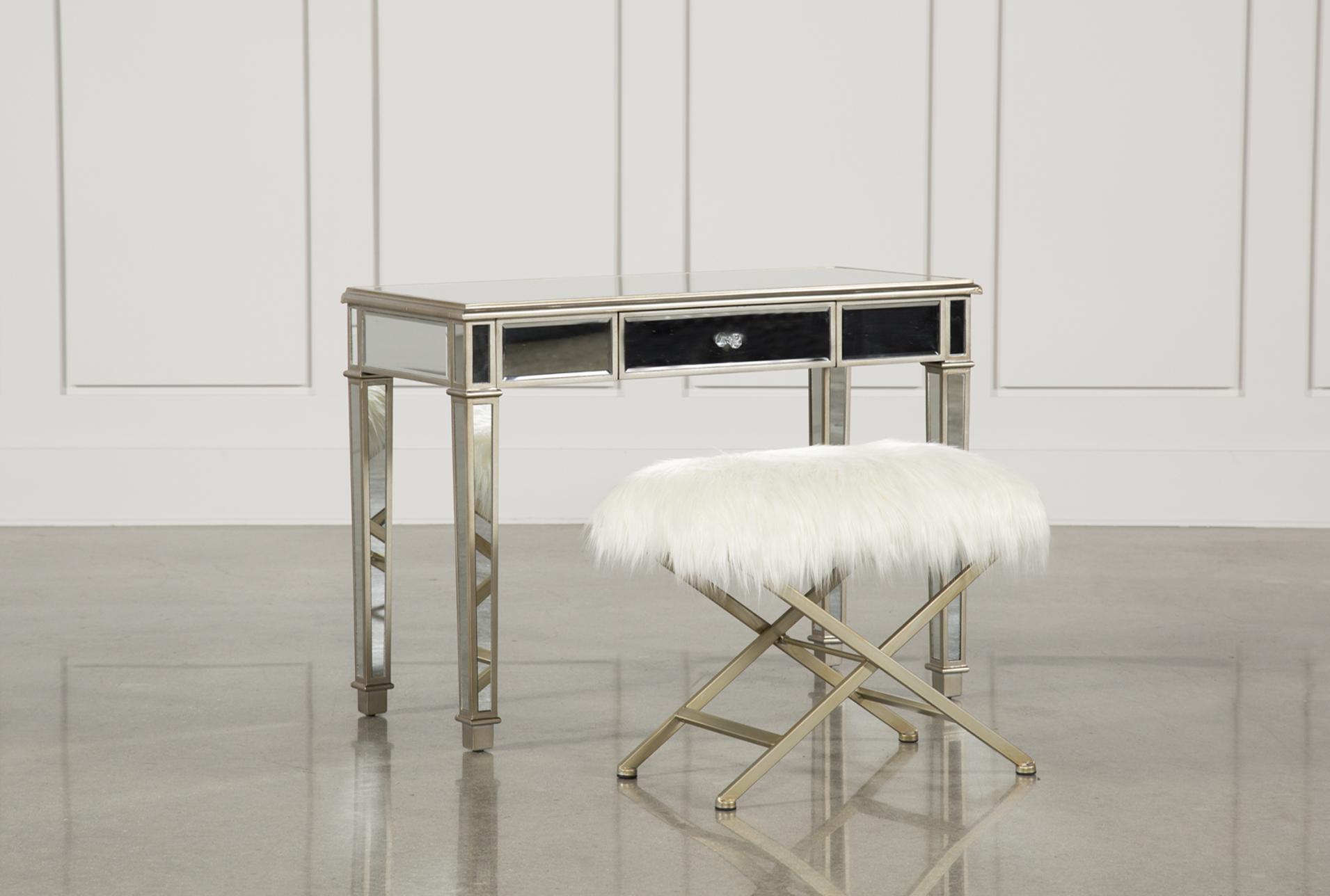 Hayworth Mirrored Vanity Desk W/Bench   360