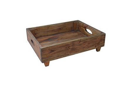 Wood Rectangle Tray With Feet