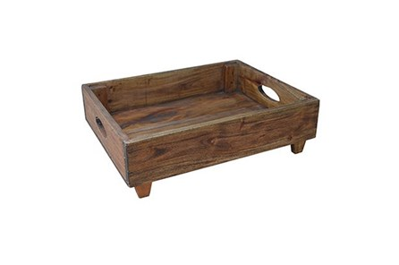 Wood Rectangle Tray With Feet - Main