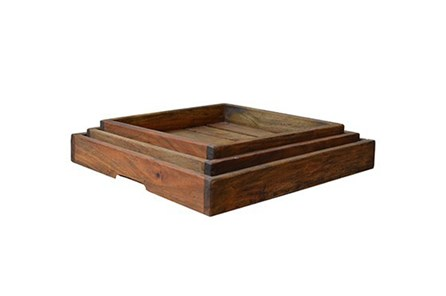 3 Piece Set Square Wood  Trays - Main