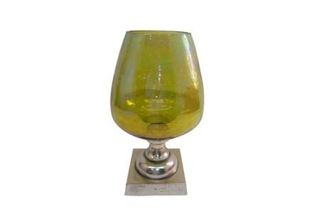 Green Glass Goblet Candleholder