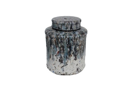 Blue Terra Cotta Lidded Jar Large