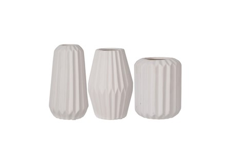 3 Piece Set White Modern Vases