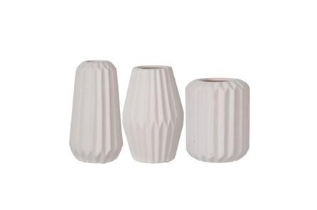 3 Piece Set White Modern Vases - Main