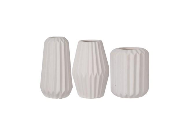3 Piece Set White Modern Vases Living Spaces